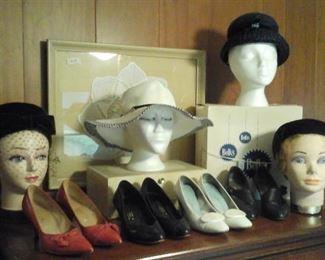 vintage hats,  hat box, shoes