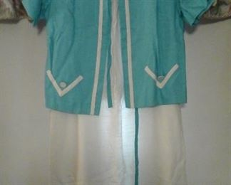 vintage white and turquoise dress