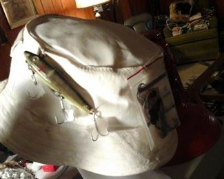 fishing lures and hat