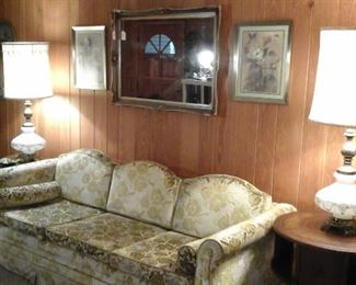 Hollywood Regency style sofa and table lamps