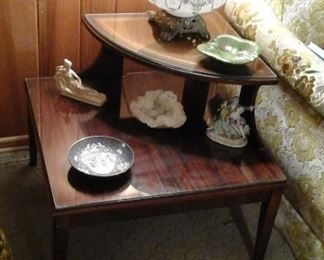 Leather top corner table