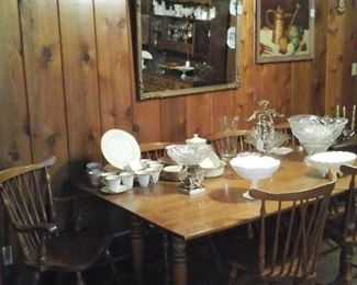 Maple drop leaf dining table and six chairs