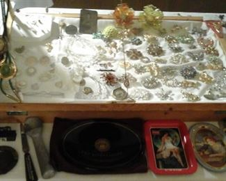 vintage costume jewelry Brooches, Austrian crystal necklace sets, watches and more
