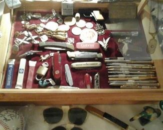 vintage pocket knives, writing implements, key chains, measuring  tapes, coins and more