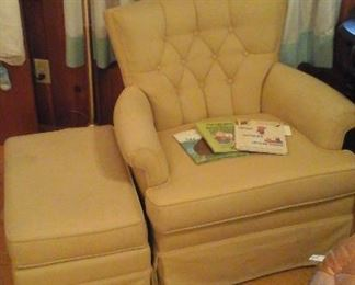 Pair of swivel chairs and ottoman