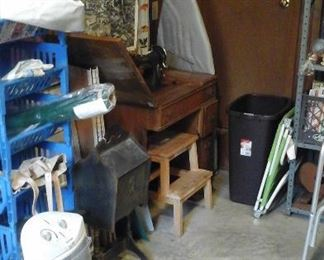 Sturdy ironing board, sewing machine and cabinet