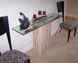 MARBLE-BASE, GLASS-TOP CREDENZA & PAIR OF MODERN SIDE CHAIRS