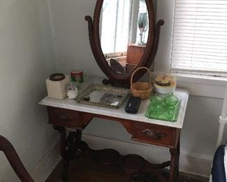 Antique dressing table with marble top Green dresser set