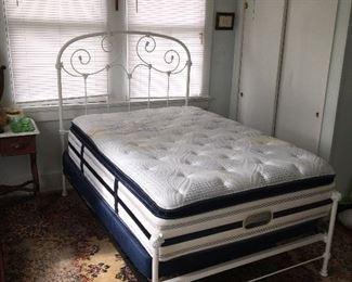 White iron double bed