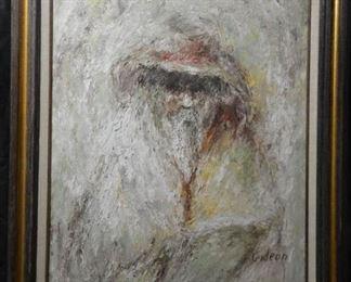 Elmo Gideon Old Man Oil On Canvas Painting