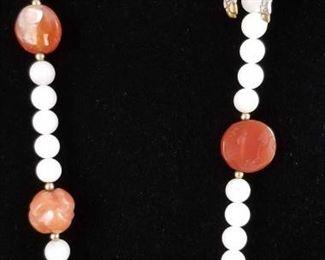 Cloisonne Horse Charm & Quartz Necklace