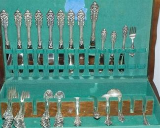 WALLACE STERLING 54 PC GRAND BAROQUE FLATWARE