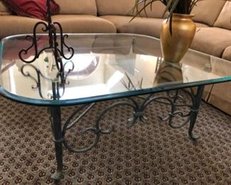 Verdi metal/glass square coffee table