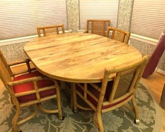 Rattan breakfast set/6 chairs
