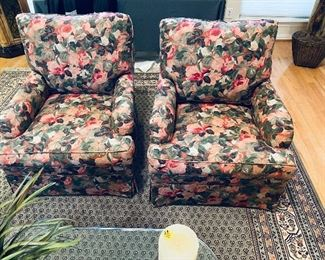 Pair floral chairs