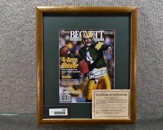 """Autographed NFL Beckett Magazine Brett Favre Jan 97 17"""" x 14.5"""" Frame Matte COA"""