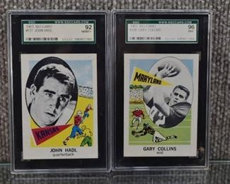 Lot of 2 Vintage Football Cards 1961 Nu-Card John Hadl (SGC Graded 92) & Gary Collins (SGC Graded 96)