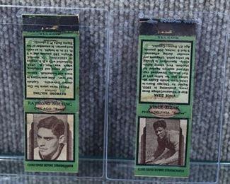 Pair of 2 Vintage NFL Football Matchbox Covers 1930s Raymond Nolfing Chicago Bears Vince Zizak Philadelphia Eagles