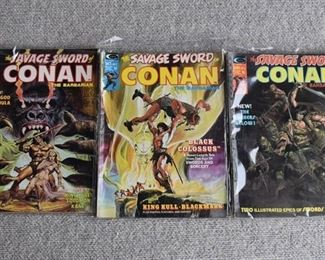 Lot of 3 Curtis Comics: The Savage Sword of Conan the Barbarian #2, 6, 14 -WILL SHIP