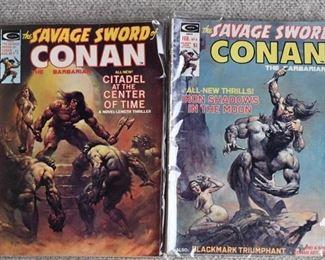 Lot of 2 Curtis Comics: The Savage Sword of Conan the Barbarian #4, 7 -Boris Vallejo Cover Art -WILL SHIP