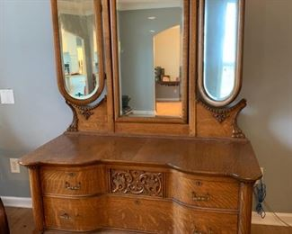 Beautiful antique dresser with mirrors