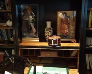 Triple black bookcase cabinets black laquer