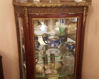 Gilded hand painted vintrine curio (l800's)
