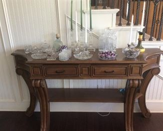 Sideboard or console table, glass and cut glass decor