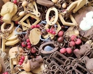 African necklaces,  beads, wood and metal