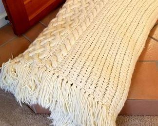 Hand knitted blanket or comforter