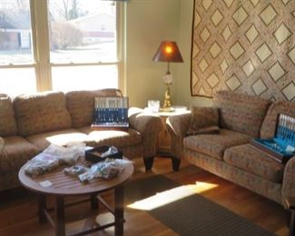 Matching Sofa & Loveseat, Coffee Table, End Table with Lamp, Postage Stamp Quilt