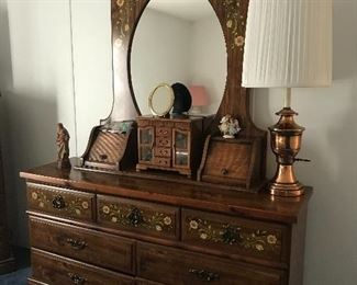 Dresser 62 l x 18 d x 77 tall has matching chest of drawers & 2 nightstands