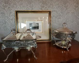 Silver plate chaffing dishes
