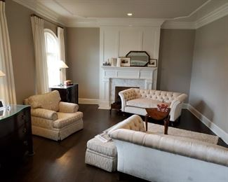 Living Room, Beautiful custom designed velour tufted matching sofas.  Look brand new.