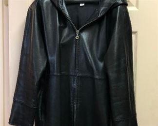 Ellen Tracy Leather Walking Coat