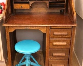 """Small 38"""" Antique Roll Top Desk, Tonk Painted Piano Stool"""