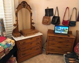"""Antique Wood/Marble Top Dresser; 3-Drawer Dresser; 22"""" Vizio HDTV"""