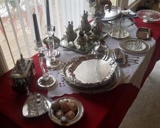 Silver plate serving items.