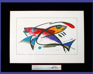 Colorful Stylized Framed Fish Picture