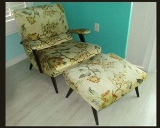 Gorgeous and So Comfortable Mid Century Modern Chair and Matching Ottoman