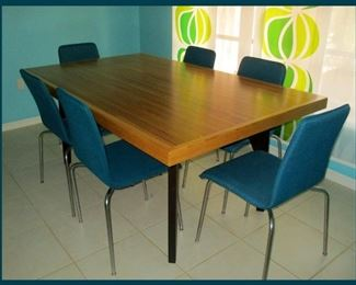 Extremely Cool Custom Made Bowling Lane Table and  Set of 6 Modernist Chairs