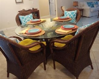 Dining Room Table & Wicker chairs
