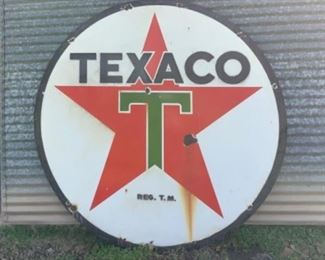 6 foot Vintage 2-sided porcelain Texaco gas sign