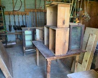 Implements, Vintage Farm Table, & Vintage wooden crates