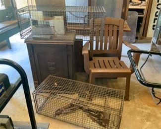 Vintage Sewing Cabinet & Animal Traps