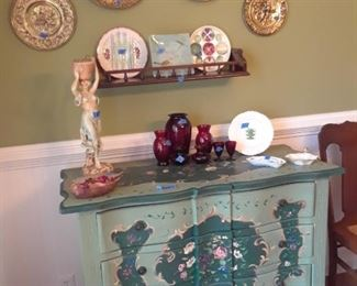 Cottage style painted buffet with floral reserves