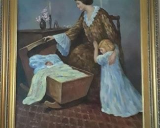 Oil on canvas of mother with children