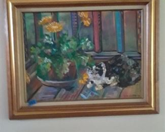 Oil on canvas of cat and flowers