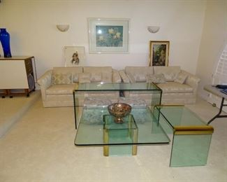 Set of 3 Leon Rosen design brass & glass tables