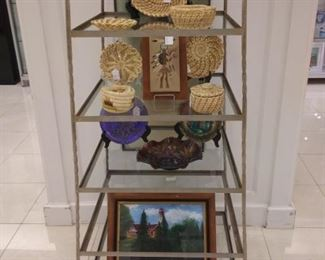 Display Stand, Baskets Art and glassware
